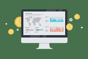 konverteringsoptimering digital byrå skärm med dollartecken