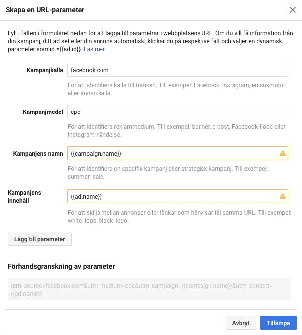 """Demo av Facebook """"skapa en url-parameter"""""""
