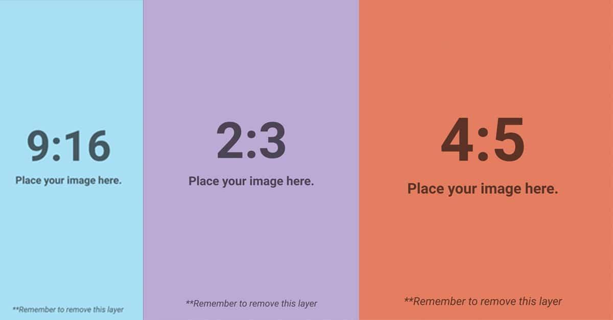 Exempel på aspekt ratio till Facebook i en checklista